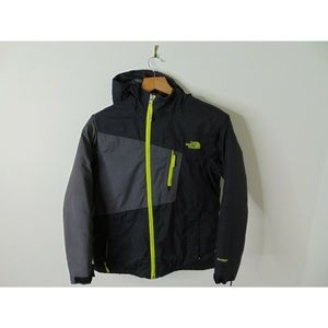 North Face M Full Zip Jacket Coat Neon Green Black